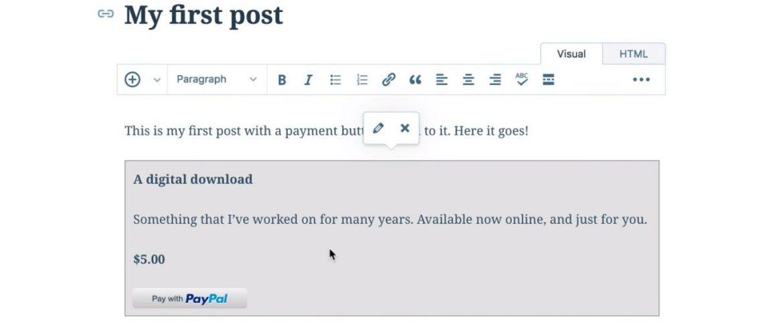 Wordpress integra un nuevo botón de pagar con Paypal